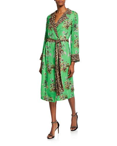 Vacation Robe Floral & Leopard Print Tie-Waist Dress