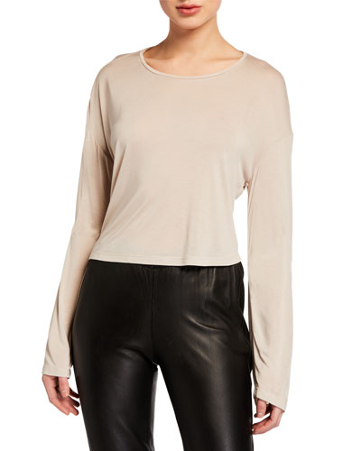 Jaimie Cashmere-Blend Cropped Long-Sleeve Top
