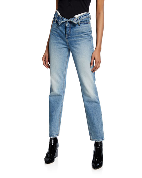 Cult High-Rise Straight Jeans w/ Flipped Waistband