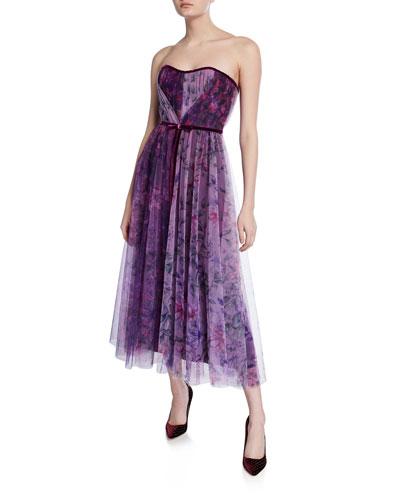 b9bdbb80d7d38 ... Ruffle Skirt Detailing. $495 · Floral Colorblock Strapless Sweetheart  Tea-Length Tulle Dress Quick Look. Marchesa Notte