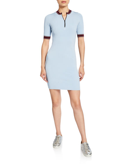 John Elliott Loren Zip-Front Short-Sleeve Ribbed Dress