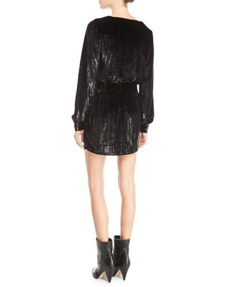 Metallic Velvet Long-Sleeve Short Cocktail Dress