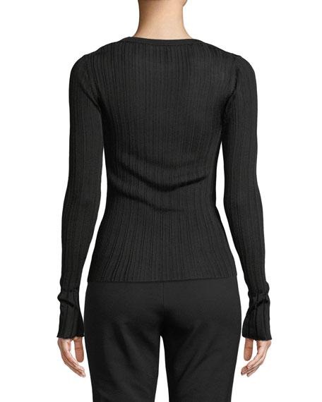 Ribbed Viscose Long-Sleeve Crewneck Sweater Top