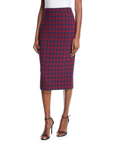 Thea Plaid Midi-Length Pencil Skirt