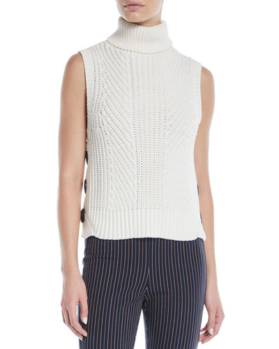 Sleeveless Chunky Turtleneck Sweater w/ Buttons