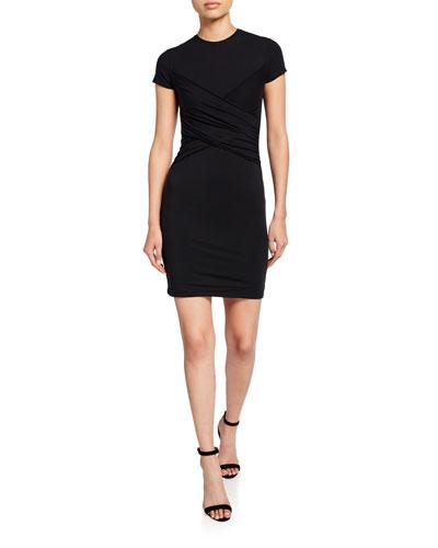 Crewneck Short-Sleeve Body-Conscious Dress