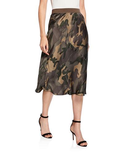 Camo-Print Silk Skirt