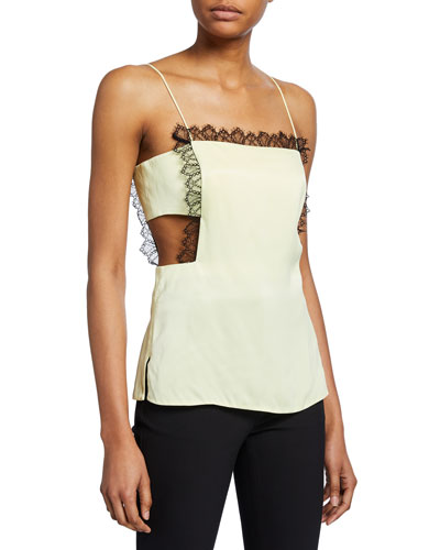 Square-Neck Cutout Camisole with Lace Trim