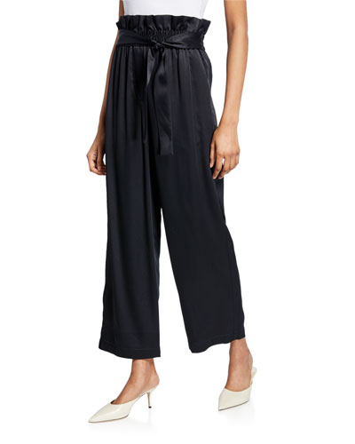 Satin Cropped Ankle Pants