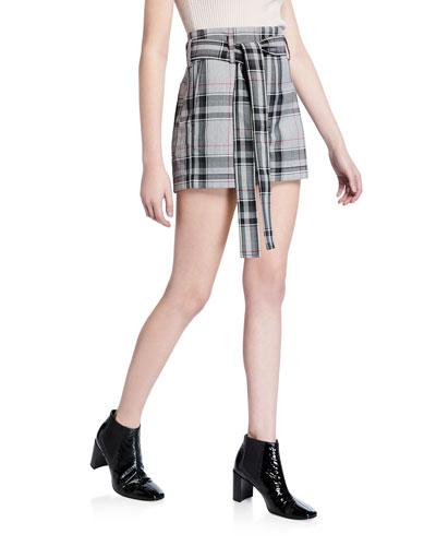 Plaid Belted Short Shorts