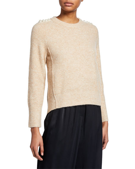 Lofty Crewneck Sweater with Pearly Shoulder Detail