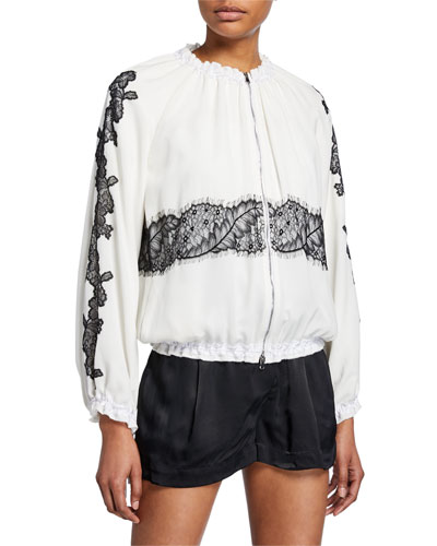 Lace Double-Zip Bomber