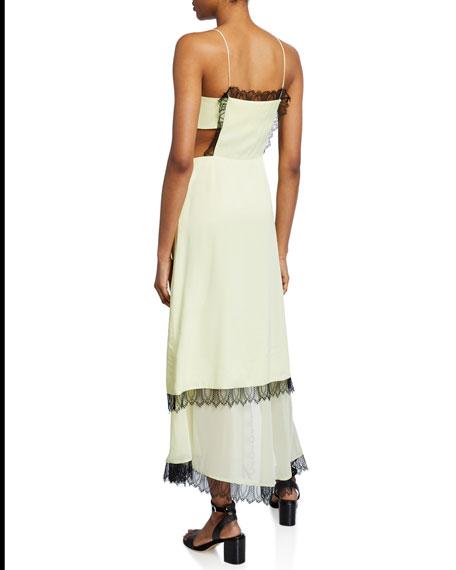Square-Neck Sleeveless Slit Dress with Lace & Cutouts