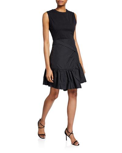 Asymmetrical T-Shirt Dress w/ Overlap Skirt