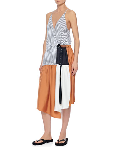 Colorblock Wrap Slip Dress