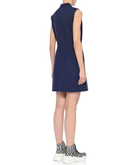 Mock-Neck Sleeveless A-Line Mini Dress with Pockets