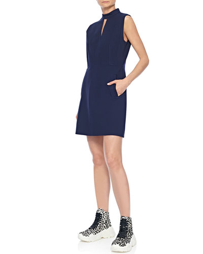 Mock-Neck Sleeveless A-Line Mini Dress with Pockets