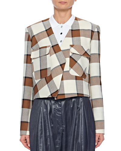 Cropped Check Structured Jacket