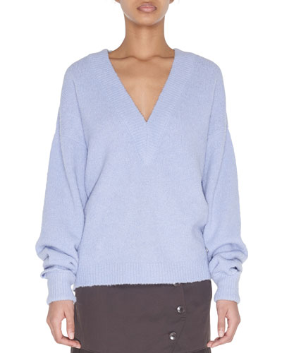 V-Neck Pullover Sweater with Arm Band Cuffs