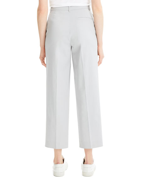 High-Waist Straight-Leg Stretch-Cotton Ankle Pants