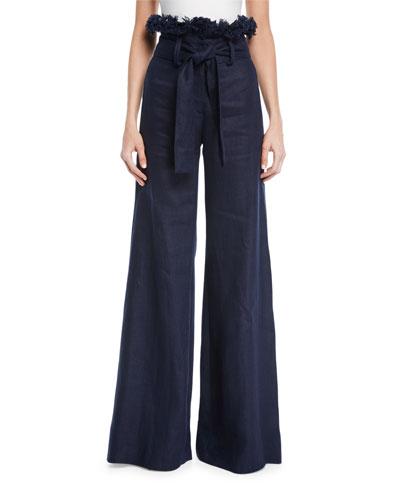 Sweeney Linen Wide-Leg Frayed Pants