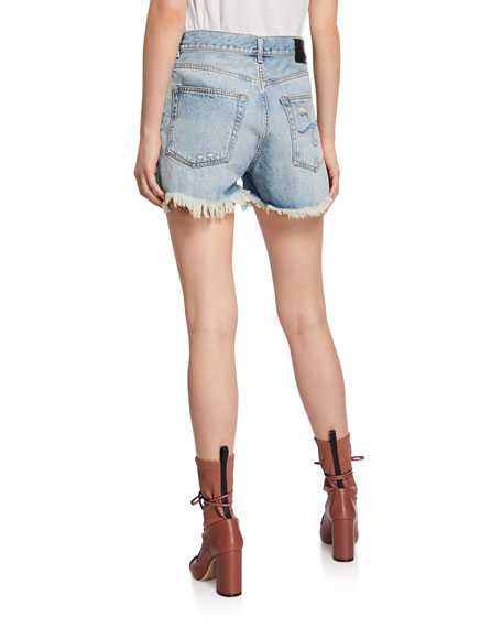 Shredded Slouch Distressed Denim Shorts