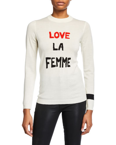 Love La Femme Crewneck Wool Sweater