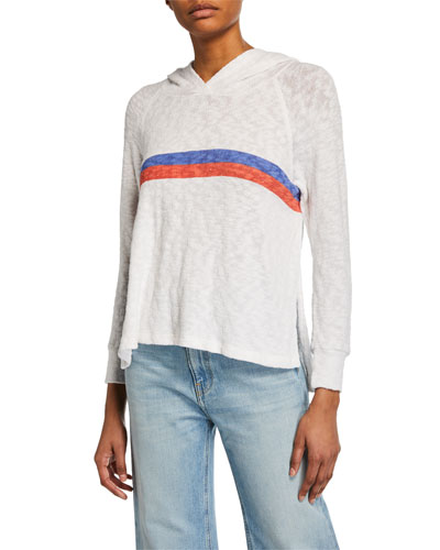 Two-Stripe Raglan-Sleeve Pullover Hoodie