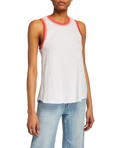 Racerback Cotton Tank with Contrast Trim