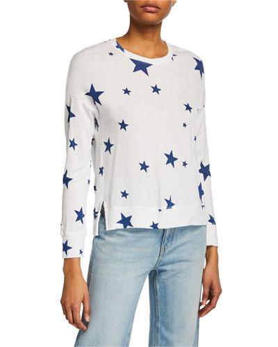 Star Crewneck Long-Sleeve High-Low Top
