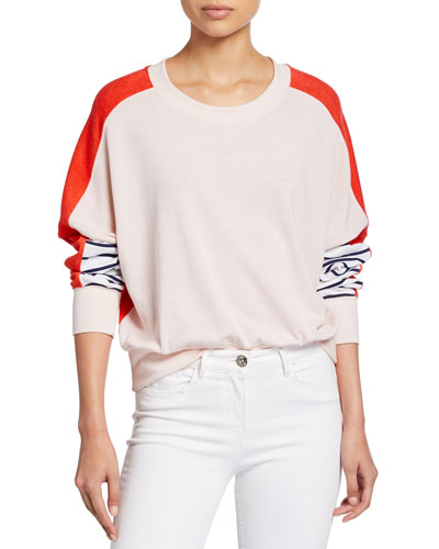 Colorblock Striped Crewneck Sweatshirt