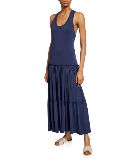 Scoop-Neck Racerback Tiered Stretch-Cotton Maxi Dress