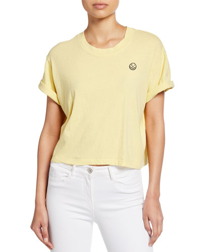 Oui Short-Sleeve Boxy Crop Tee