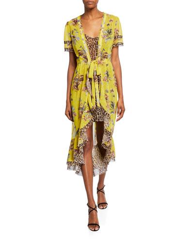 Safari Leopard-Print High-Low Wrap Tie-Waist Dress