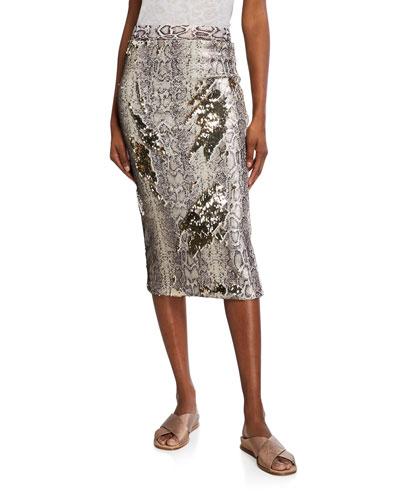 Liza Snake Sequin Bodycon Midi Skirt