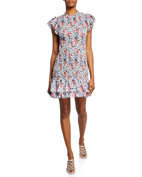 Veronica Beard Dresses CICI SMOCKED FLORAL SHORT DRESS
