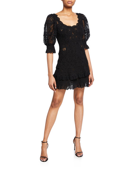 Jonathan Simkhai Scoop-Neck Puff-Sleeve Crochet Lace Ruffle Mini