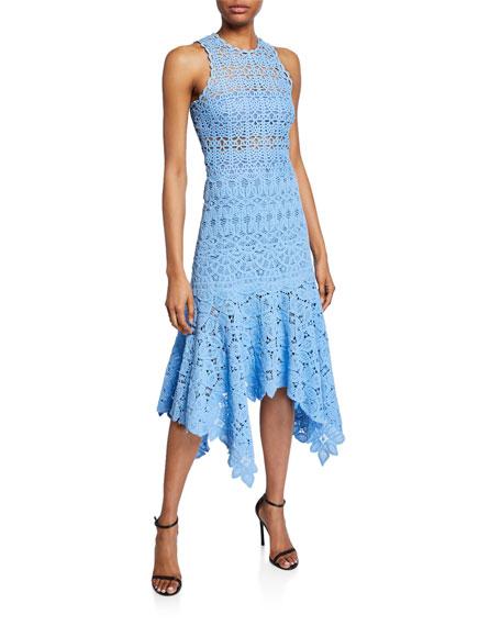 Crochet Lace High-Neck Handkerchief Dress