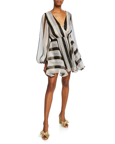 Olena Striped Metallic Short Dress