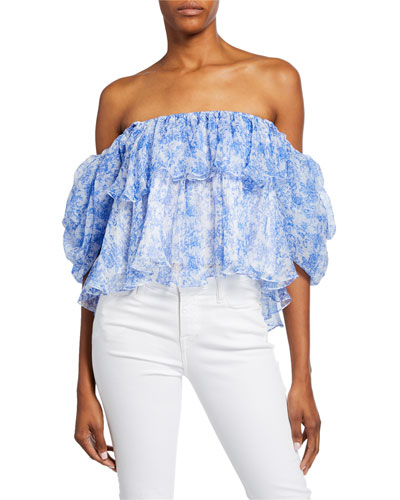Brooke Off-Shoulder Tiered Ruffle Blouse