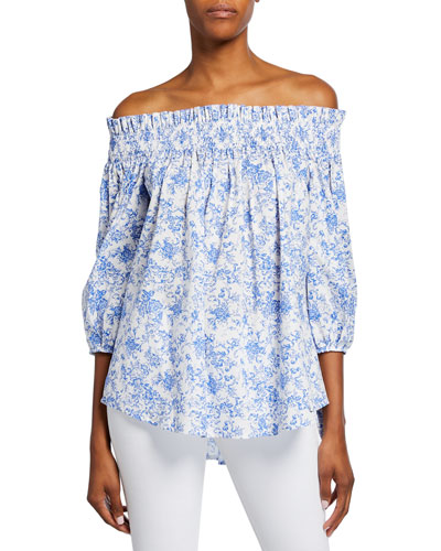 Lou Smocked Floral Off-Shoulder Top