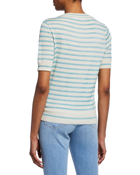 Metallic Stripe Crewneck Short-Sleeve Top