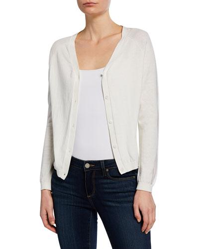 Cotton/Cashmere Button-Front Cardigan w/ Mesh Details