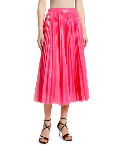 Shimmery Pleated Long Skirt