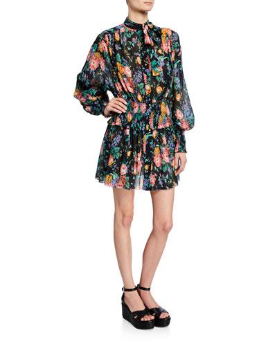 Allia Floral-Print Tie-Neck Bishop-Sleeve Shirred Mini Dress
