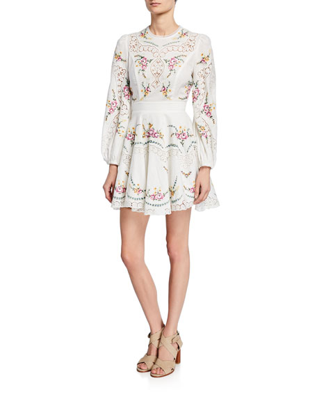 Zimmermann Dresses ALLIA CROSS-STITCH LONG-SLEEVE DRESS
