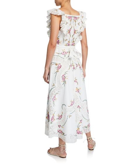 Allia Floral Cross-Stitch Maxi Dress