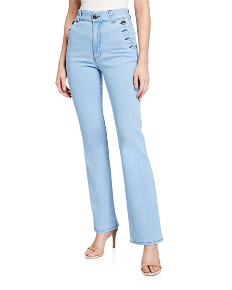 High-Rise Straight-Leg Jeans with Button Details