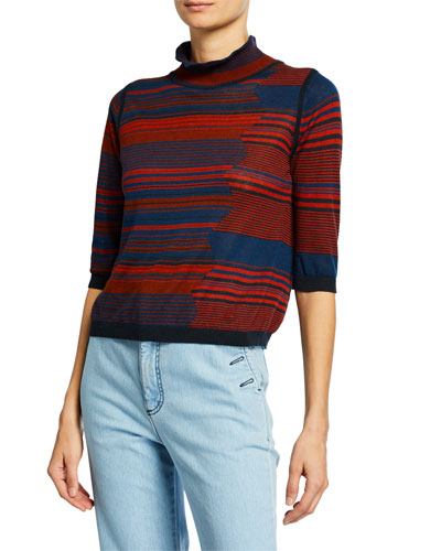 High-Neck Jacquard 3/4-Sleeve Sweater