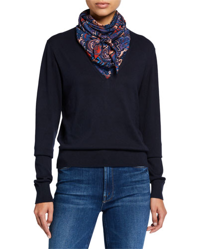 Combo Pullover Sweater with Silk Paisley Scarf
